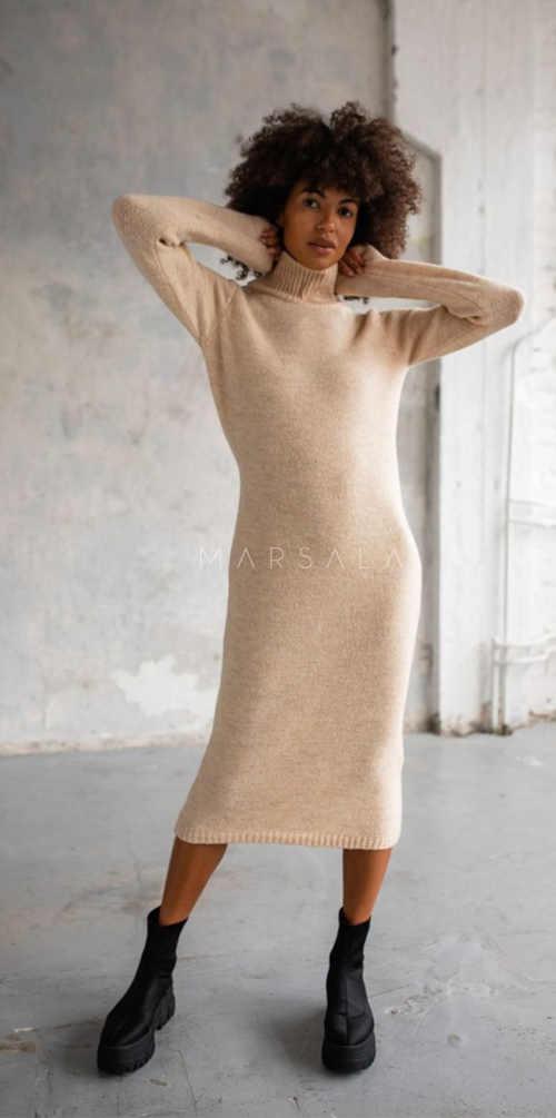 béžové dlouhé šaty z kvalitního materiálu
