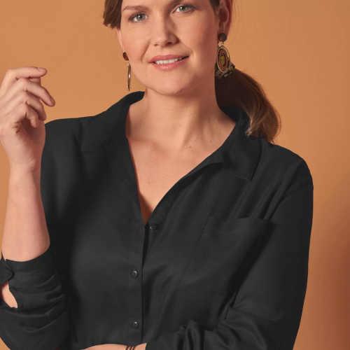 černé dámské košilové šaty