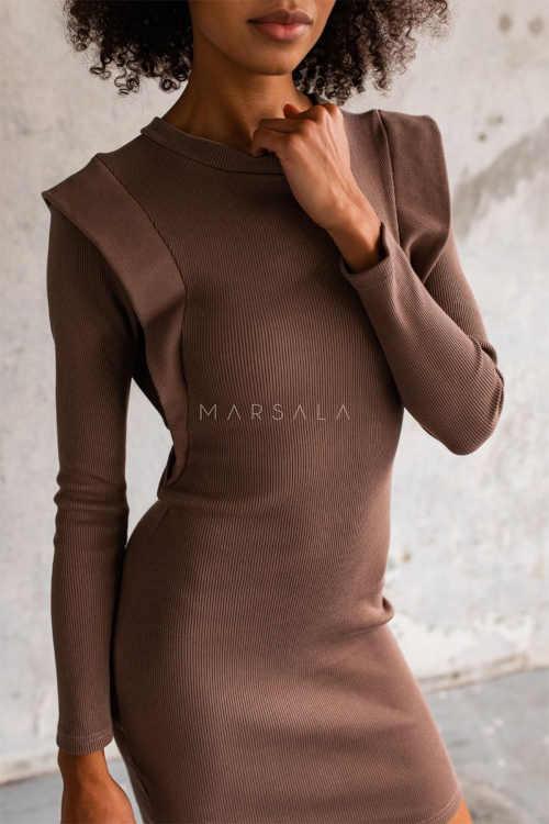 dámské úplé šaty v hnědé barvě