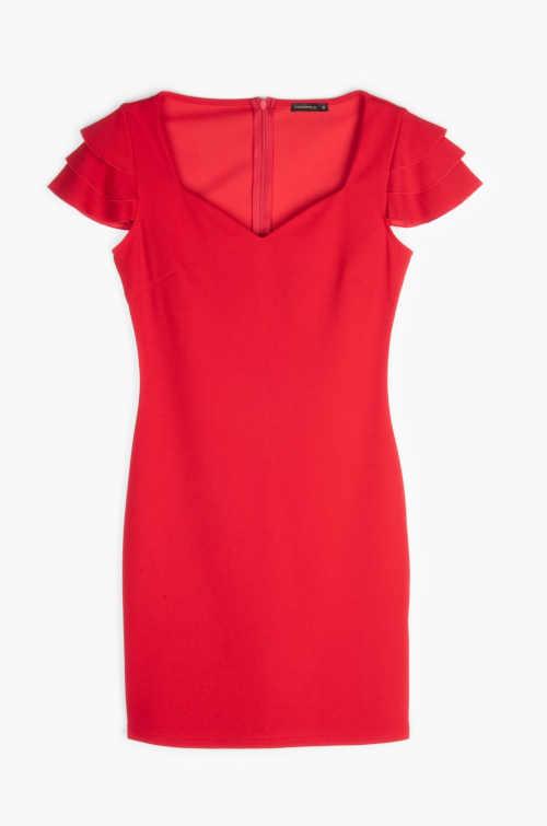 šaty v červeném provedení s volánky na rukávu