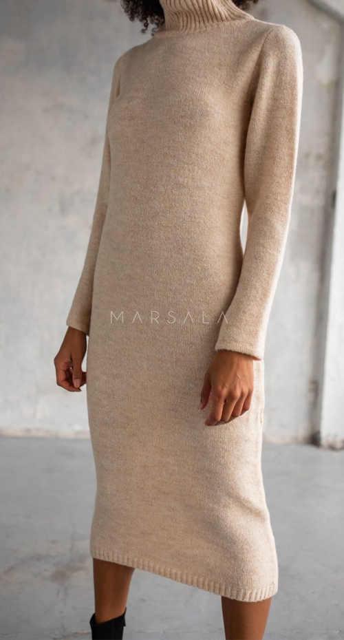 stylové dámské svetrové šaty s rolákem