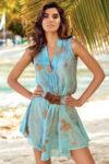 Bavlněné plážové romantické šaty s hlubokým výstřihem