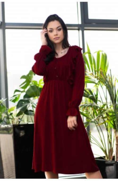 Dámské vínové šaty v midi délce s volány a pružným pasem