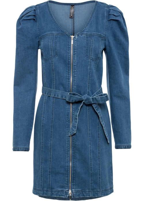 Džínové šaty s páskem z recyklovaného materiálu