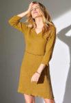 Stylové dámské jednobarevné šaty s volánkem v pase