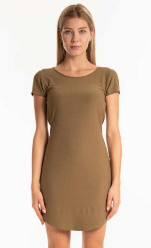 Žerzejové letní šaty s krátkým rukávem v jednoduchém střihu