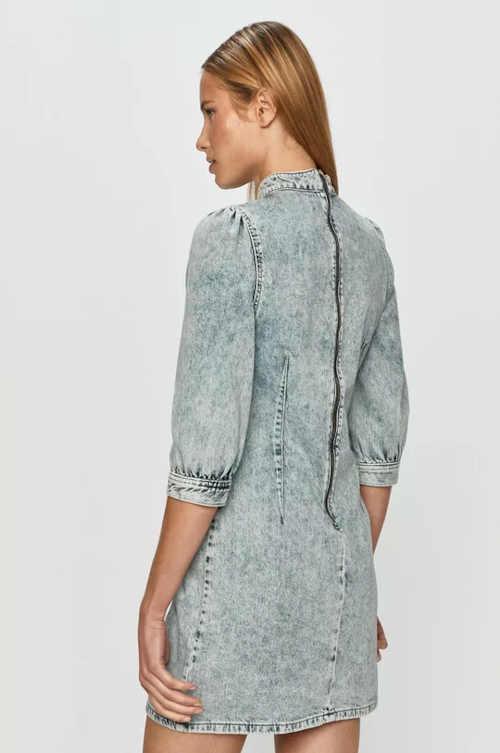 džínové krátké šaty se stojáčkem