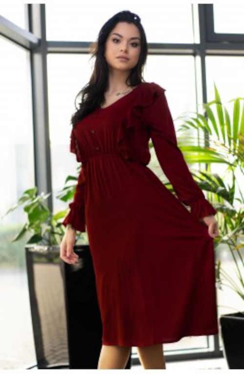 midi šaty vínové s pružným pasem