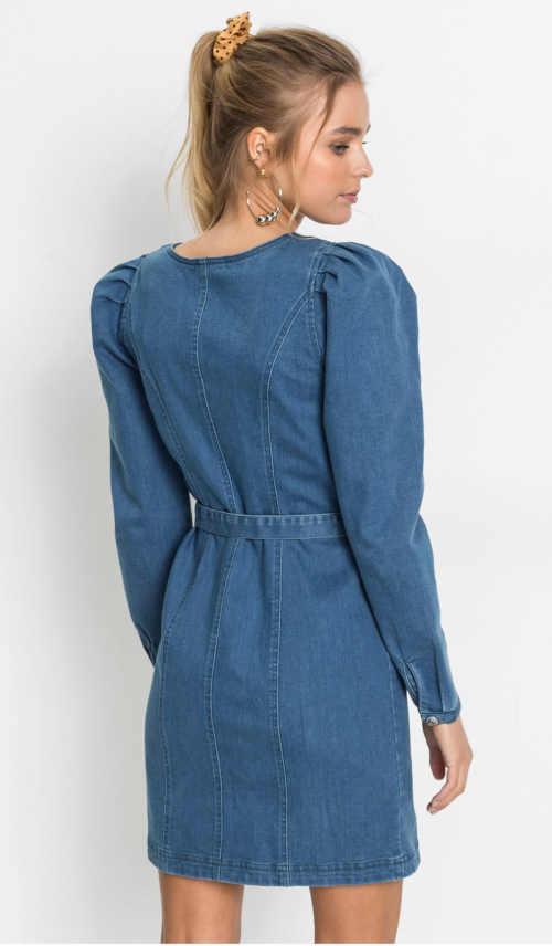 moderní džínové šaty s dlouhým rukávem