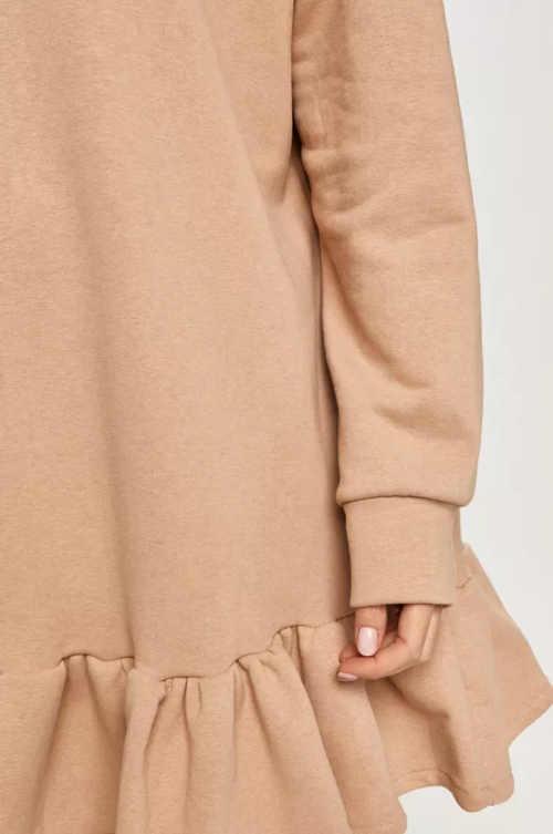 šaty oversize s kapucí a dlouhým rukávem