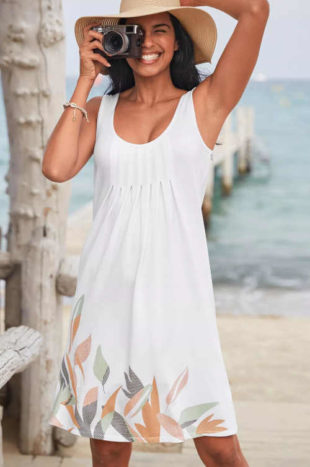 Dámské nabírané letní šaty s potiskem v krátké délce