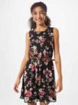 Květované dámské krátké šaty bez rukávů s páskem