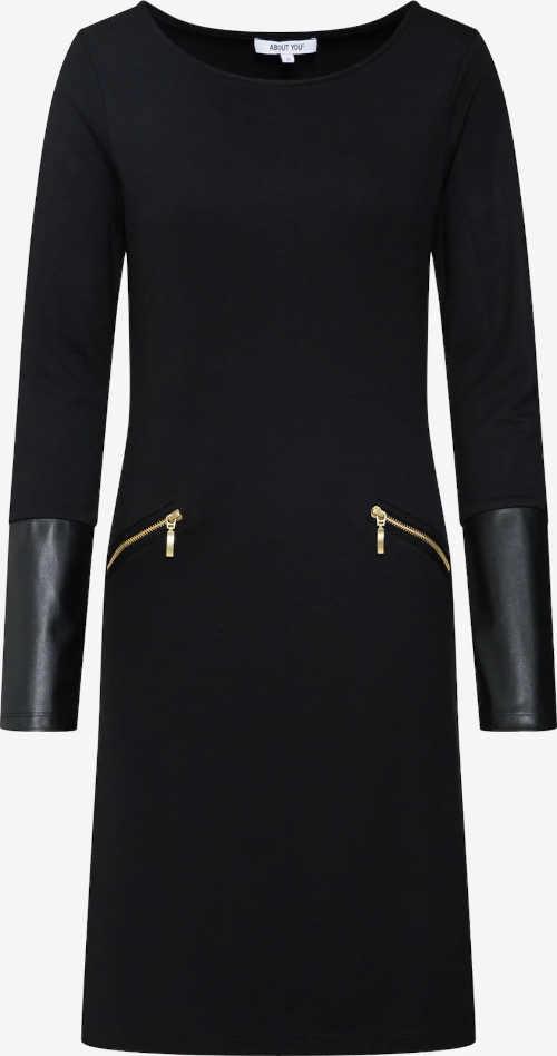 černé šaty s kulatým výstřihem a kapsami na zip