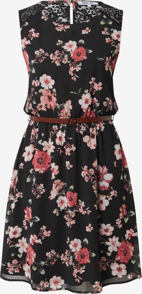 květované šaty s krajkovou vsadkou