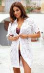 Dámské bílé bavlněné plážové šaty košilového střihu