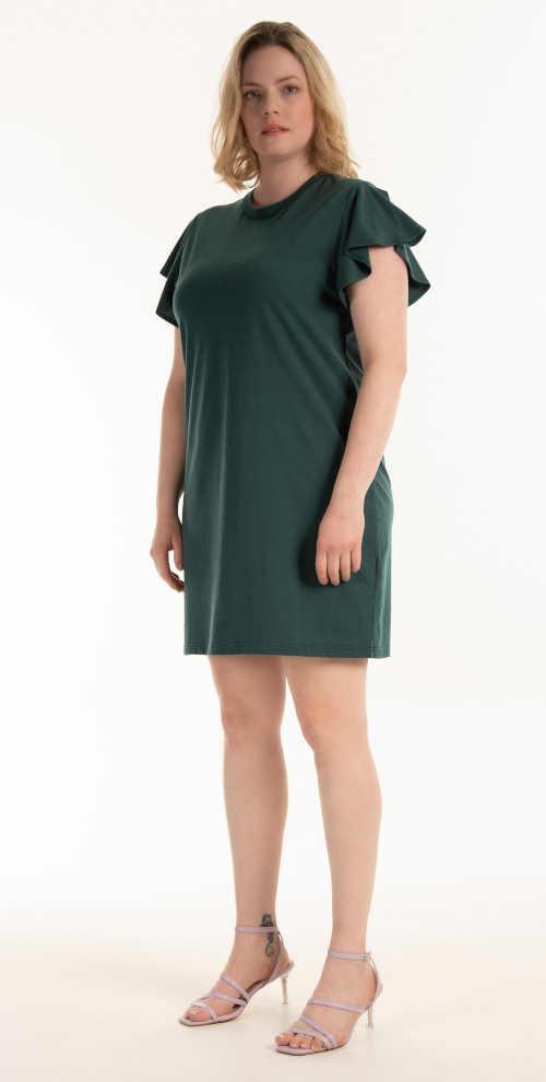 Mini šaty s volánkovým rukávem pro plnoštíhlé dámy