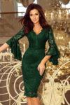 Společenské krajkové šaty v tmavě zeleném provedení