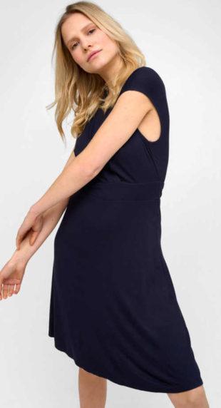 Zavinovací šaty s výstřihem do V a spadlým krátkým rukávem