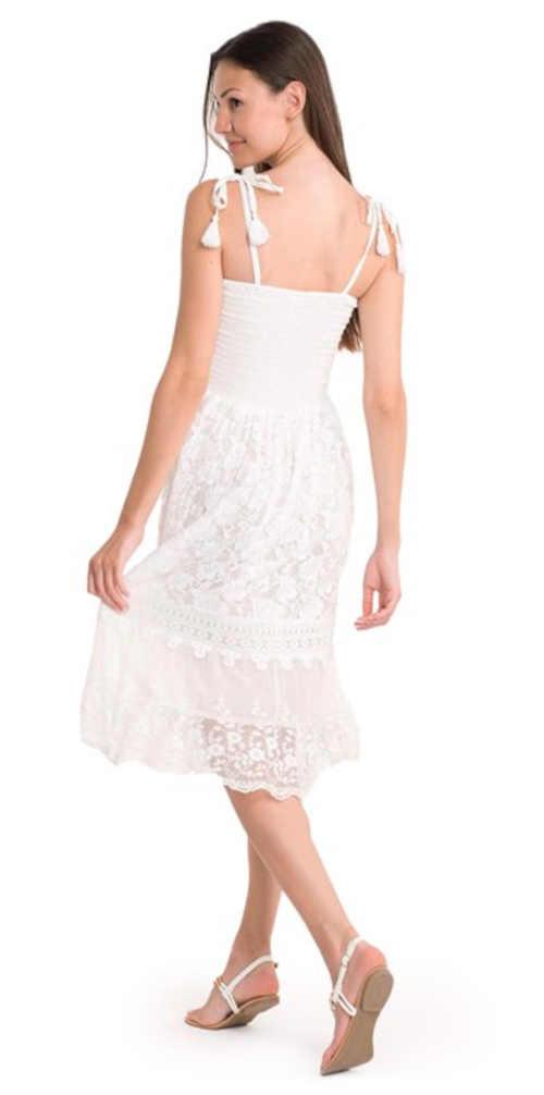 dámské delší letní šaty v bílé barvě