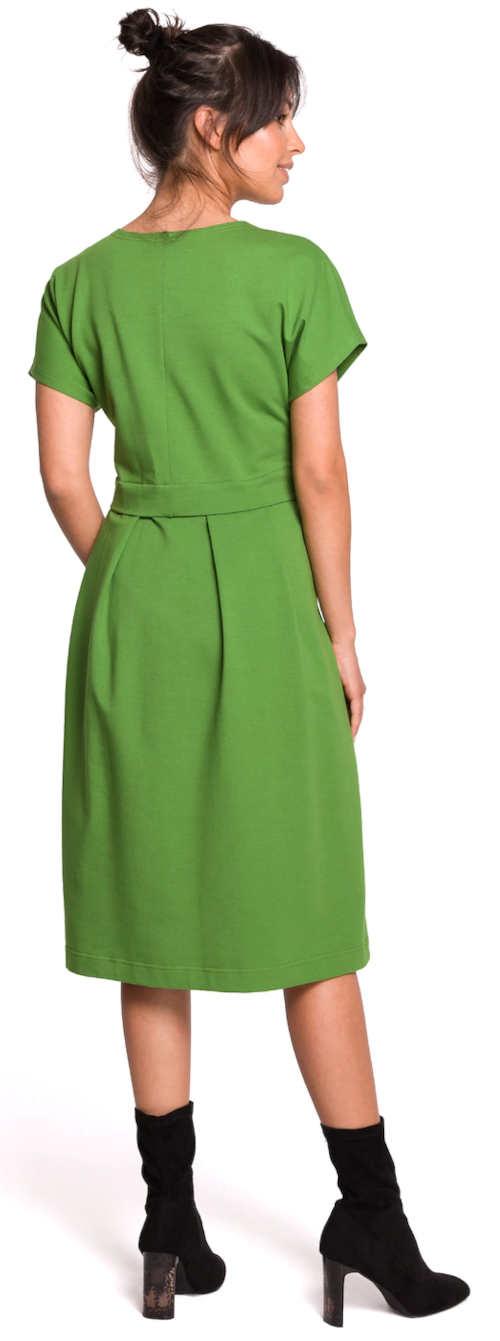 Jednobarevné zelené áčkové dámské šaty