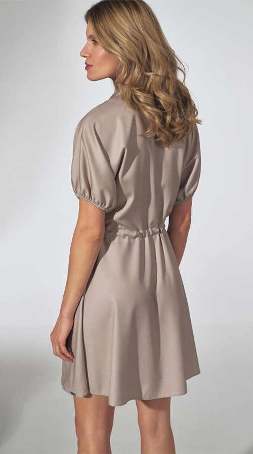 šaty krátký rukáv s integrovaným páskem
