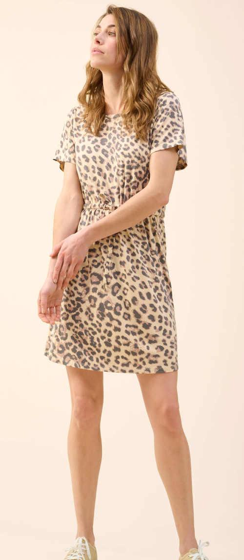 šaty zvířecí vzor s kulatým výstřihem u krku