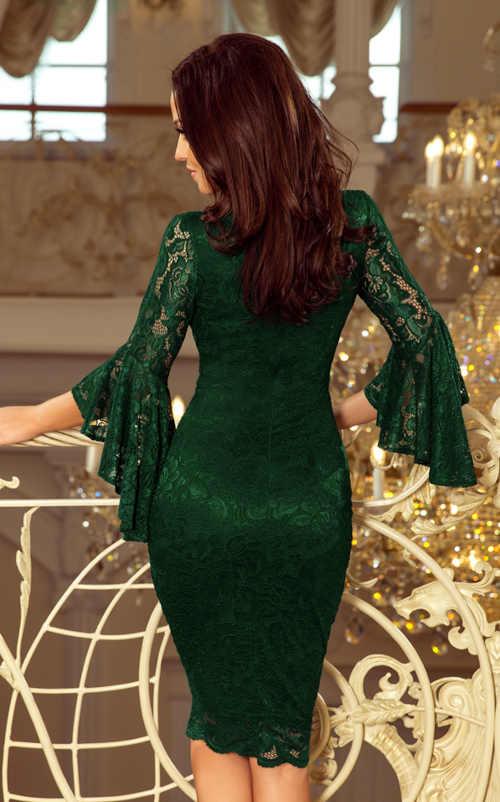 tmavě zelené společenské krajkové šaty