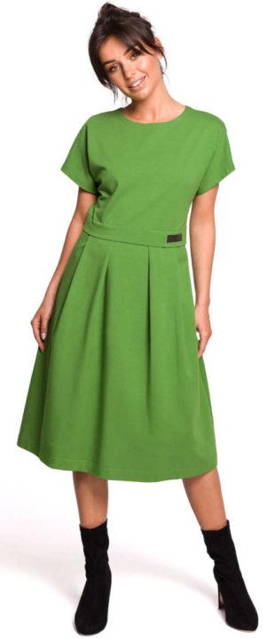 Zelené dámské midi šaty s krátkým rukávem