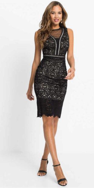 Černé dámské elegantní šaty v lichotivém střihu z krajky