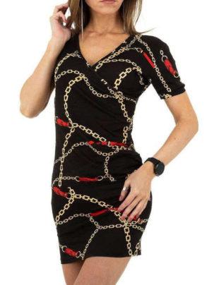 Dámské elastické černé mini šaty v moderním potisku