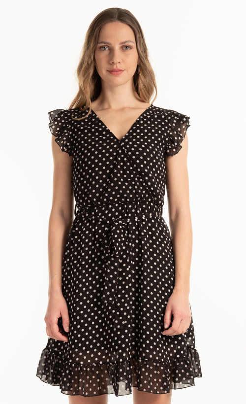 Dámské puntíkaté letní šifónové šaty v krátké délce