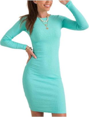 Dámské úpletové šaty s dlouhým rukávem v tyrkysové barvě