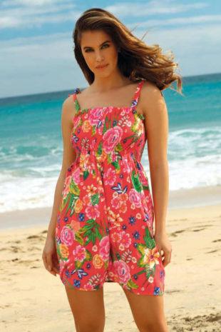 Letní šaty se zavazováním na ramenou v moderním květovaném vzoru