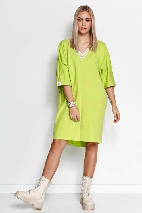 Limetkové mikinové šaty z kvalitního a příjemného materiálu