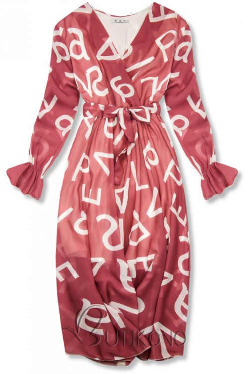 Tmavě růžové dámské šaty s potiskem v midi délce