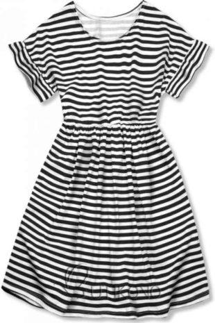 Volné dámské bavlněné šaty v moderním proužkovaném vzoru
