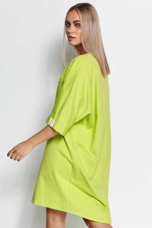 dámské mikinové šaty v limetkové barvě