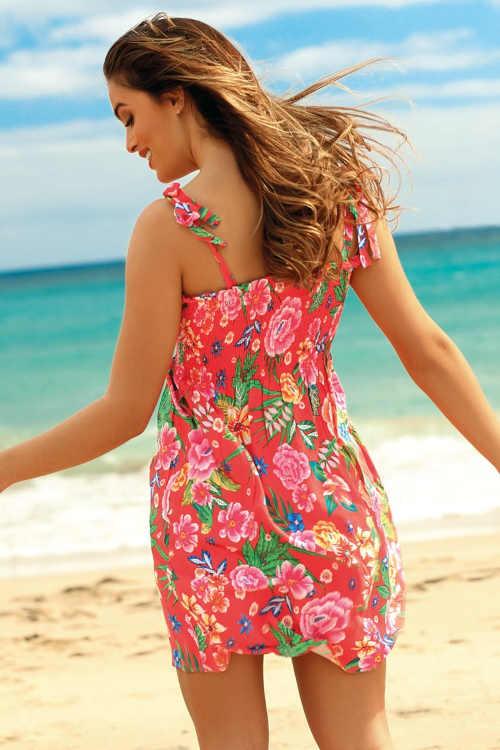 letní květované plážové šaty