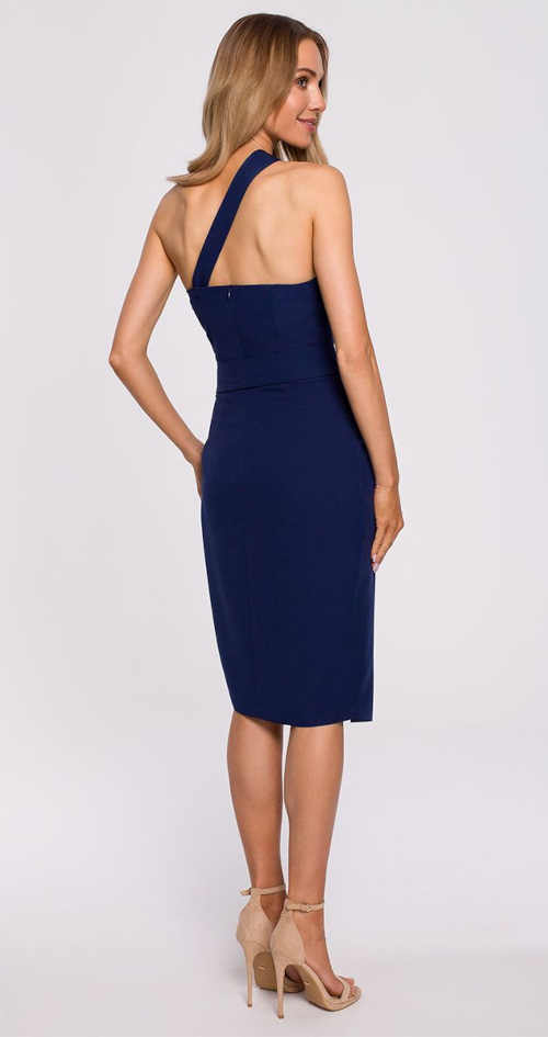 tmavě modré šaty v midi délce