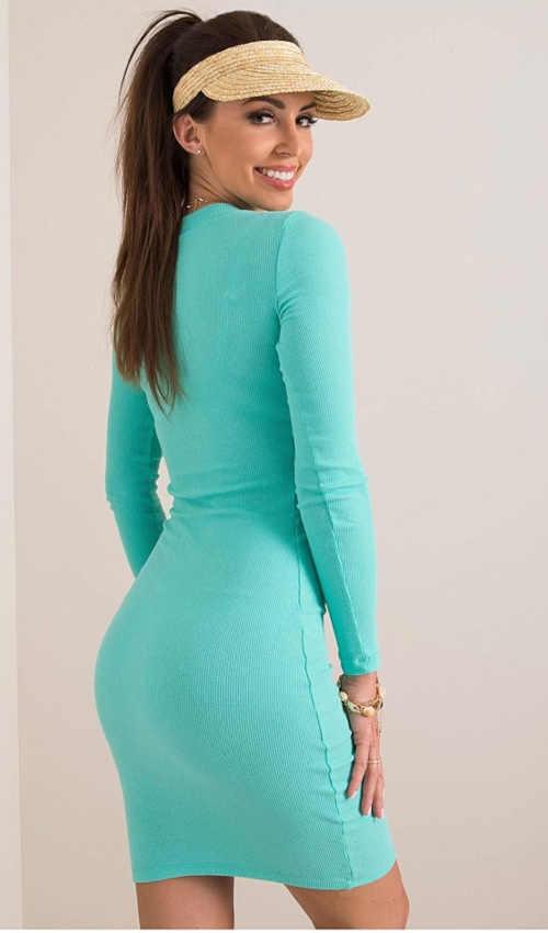 tyrkysové úplé dámské šaty