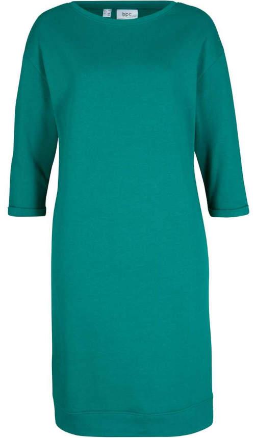 Zelené dámské mikinové šaty s lodičkovým výstřihem