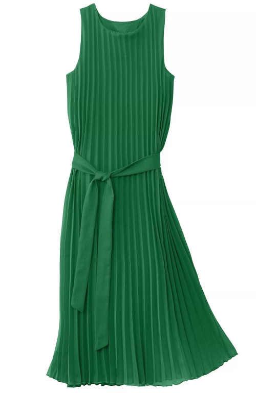 zelené plisované dámské šaty