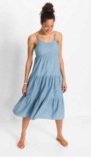 Letní maxi šaty s nastavitelnými ramínky v džínovém vzhledu