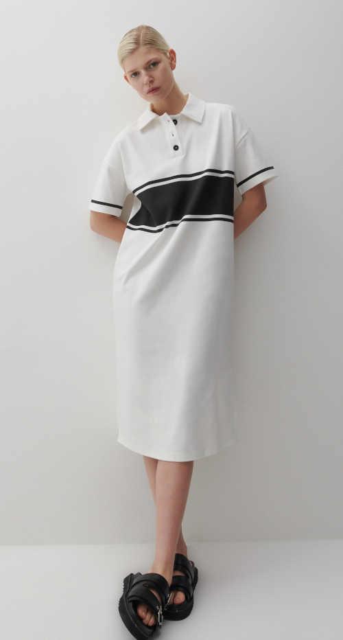 Žerzejové šaty v černo-bílém provedení košilového střihu