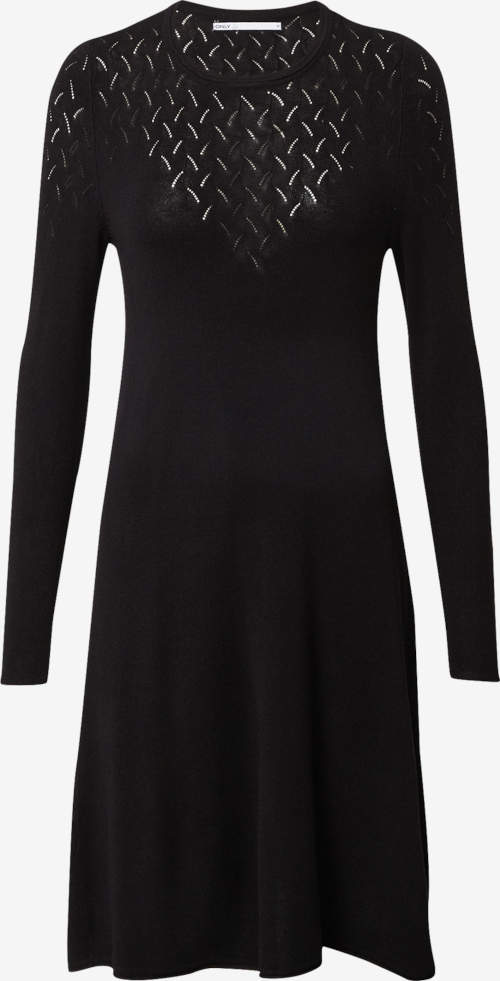 Černé úpletové dámské šaty s dekoltem zdobeným děrováním