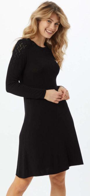 Černé úpletové šaty Only s dlouhým rukávem