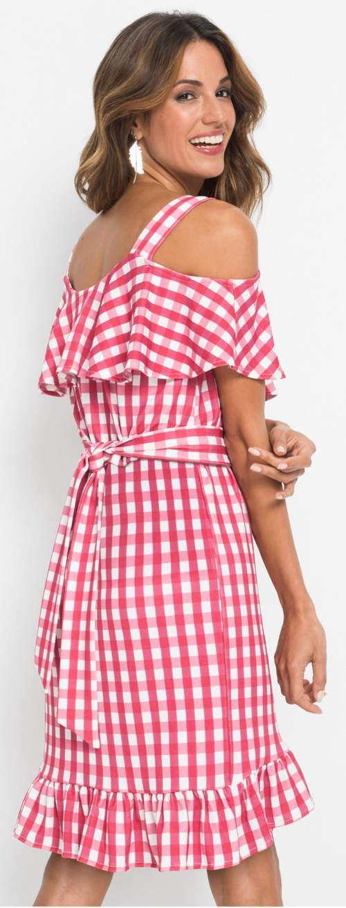 Červeno-bílé karované dámské šaty s volánky