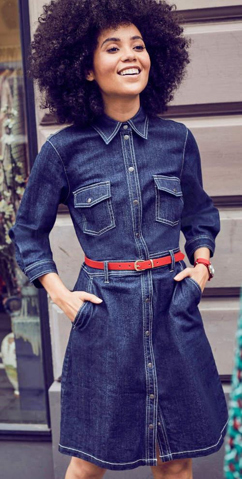 Džínové dámské košilové šaty s kapsami