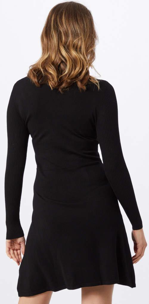 Jednobarevné černé pletené dámské šaty