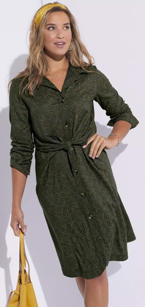 Košilové dámské šaty s uzlem v pase
